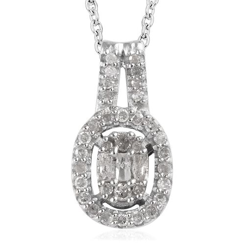 3 Piece Set - Diamond (Rnd and Bgt) Ring, Earrings and Pendant with Chain in Platinum Overlay Sterling Silver 1.00 Ct, Silver wt 7.88 Gms,