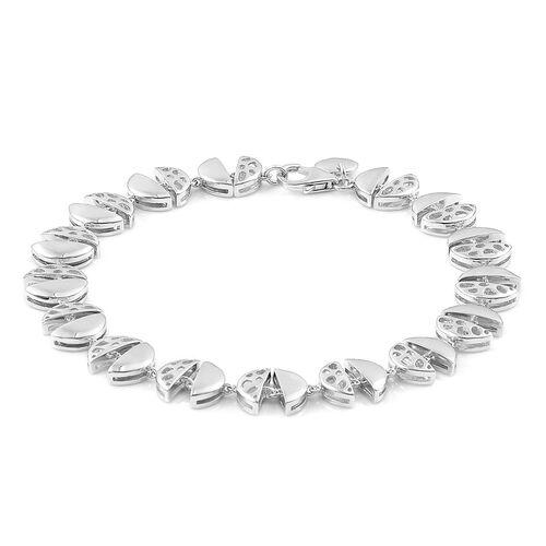 RACHEL GALLEY Rhodium Plated Sterling Silver ECLIPSE Bracelet (Size 8), Silver wt. 14.76 Gms.