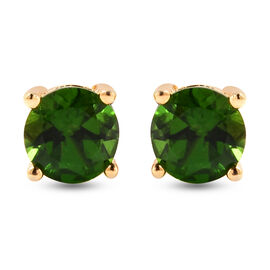 Russian Diopside Stud Earrings (with Push Back) in Yellow Gold Overlay Sterling Silver