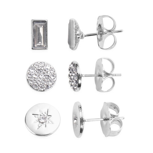 5 Piece Set - White Austrian Crystal and Simulated Diamond Stud Earrings (3 Pcs), Stretchable Bracelet with Charms (Size 7.5) and Pendant with Chain in Silver Tone