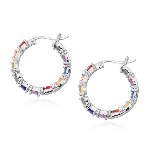 Rainbow Sapphire (Ovl) Hoop Earrings (with Clasp Lock) in Rhodium Plated Sterling Silver 5.150  Ct. Silver wt 5.80 Gms.