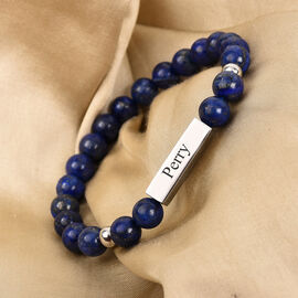 Engravable Bar Lapis Beads Bracelet Size 7-7.5Inch