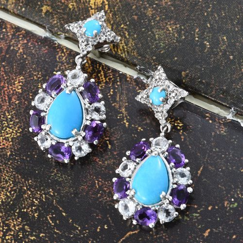 Arizona Sleeping Beauty Turquoise (Pear),  Amethyst and White Topaz Earrings (with Push Back) in Platinum Overlay Sterling Silver 5.750 Ct.