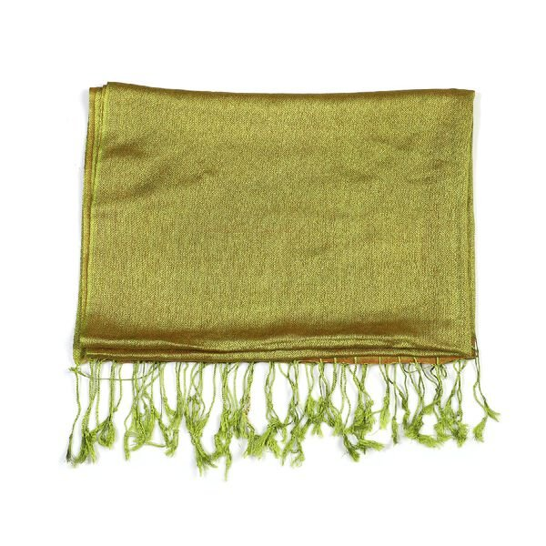 Limited Edition - Silk and Woolen Blended Shawl (Size 70x200 mm) with Tassels - Olive Green