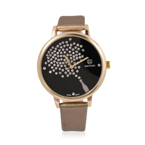 STRADA Japanese Movement White Austrian Crystal Studded Celebrtation Watch with Champagne Gold Colour Strap
