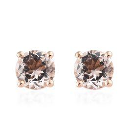 9K Rose Gold Marropino Morganite (Rnd) Stud Earrings (with Push Back) 1.000 Ct.