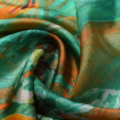 Close Out Deal- 100% Mulberry Silk Floral Scarf (Size 175x105 Cm) - Green and Orange