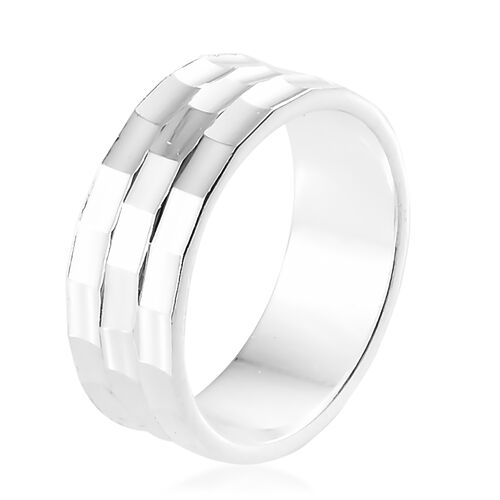 Designer Inspired- Diamond Cut High Polished Sterling Silver Ring, Silver wt 3.88 Gms.