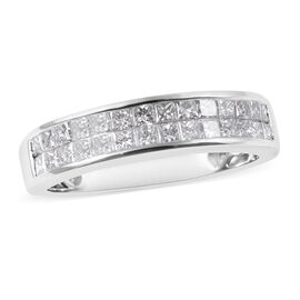 RHAPSODY 950 Platinum IGI Certified Diamond (Sqr) (VS/E-F) Two Row Half Eternity Band Ring 1.00 Ct,