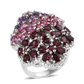 Rose De France Amethyst (Pear), Multi Gemstone Ring in Rhodium Overlay Sterling Silver 13.149 Ct.
