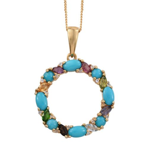 Arizona Sleeping Beauty Turquoise (Ovl), Russian Diopside, Rhodolite Garnet, Hebei Peridot and Multi Gemstone Circle of Life Pendant With Chain (Size 18) in 14K Gold Overlay Sterling Silver 2.120 Ct.