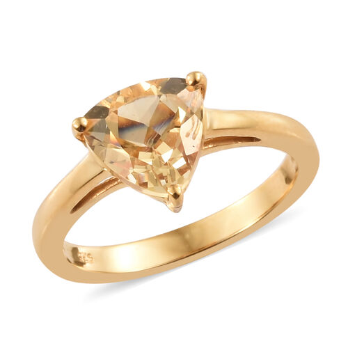 Citrine (Tri) Solitaire Ring in 14K Gold Overlay Sterling Silver 1.500  Ct.