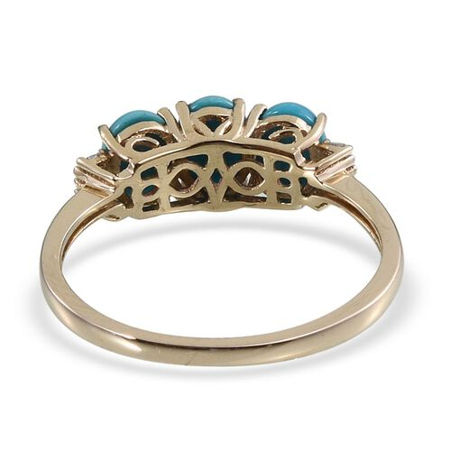 9K Y Gold Arizona Sleeping Beauty Turquoise (Ovl), Diamond Ring 2.250 Ct.