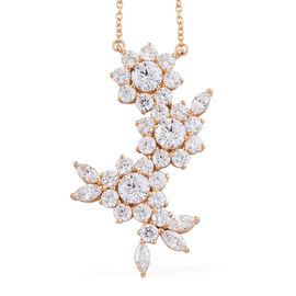 J Francis Made with Swarovski Zirconia Cluster Necklace in Gold Plated Sterling Silver 8.5 Grams
