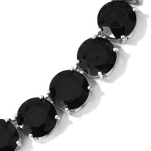 Boi Ploi Black Spinel (Rnd) Necklace (Size 18) in Platinum Overlay Sterling Silver 160.500 Ct. Silver wt. 31.61 Gms.
