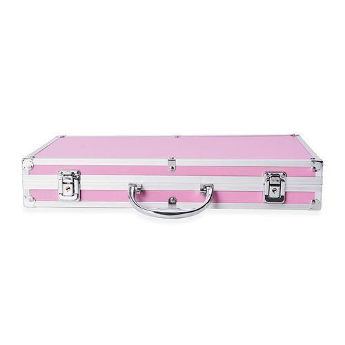 Small Dot Pattern Rectangular Anti Tarnish Lining Jewellery Organiser with Handle and Clasp Lock (Size 38.2x21x6.5 Cm) - Pink
