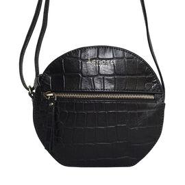 ASSOTS LONDON JANE Genuine Leather Round Croc Crossbody Bag (Size 19x19x6cm) - Black