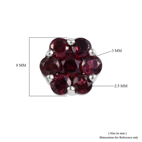 One Time Deal- Arizona Anthill Garnet (Rnd) Floral Stud Earrings (with Push Back) in Platinum Overlay Sterling Silver 1.45 Ct.