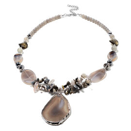 GreyShell, Grey Agate, Multi Gemstone and Magic Colour Beads Necklace (Size 28 with 3 inch Extender