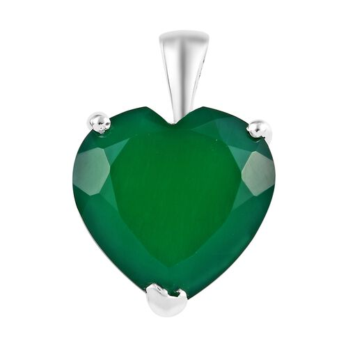 Verde Onyx (Hrt 15 mm) Solitaire Pendant in Sterling Silver 8.00 Ct.
