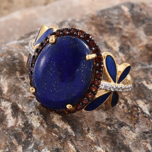 GP Lapis Lazuli (Ovl 8.60 Ct), Mozambique Garnet, Natural Cambodian Zircon and Kanchanaburi Blue Sapphire Enameled Ring in 14K Gold Overlay Sterling Silver 9.250 Ct. Silver wt 5.72 Gms.