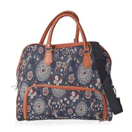 Navy and Multi Colour Floral and Deer Pattern Tote Bag with Detachable Shoulder Strap and Zipper Clo