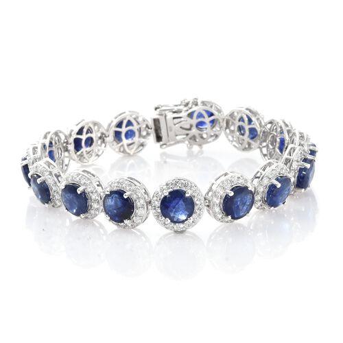 Duchess Inspired - Rare Size Masoala Sapphire (Rnd), Natural Cambodian Zircon Bracelet (Size 7.5) in