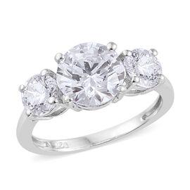 J Francis - Platinum Overlay Sterling Silver (Rnd 8 mm) Ring Made with SWAROVSKI ZIRCONIA