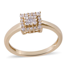 0.33 Ct Diamond Cluster Ring in 9K Yellow Gold SGL Certified I3 GH