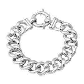 Designer Inspired- Rhodium Overlay Sterling Silver Curb Link Bracelet (Size 7.5), Silver wt 23.10 Gm