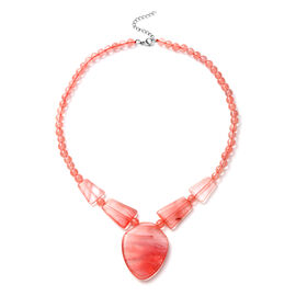 Cherry Quartz Necklace (Size - 18 with 2 inch Extender) in Stainless Steel 224.50 Ct.