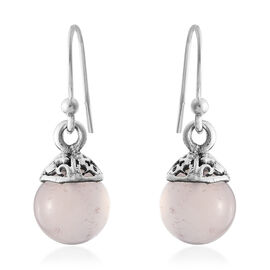 Designer Inspired- Rose Chalcedony (Rnd) Beads Hook Earrings in Sterling Silver 5.980  Ct