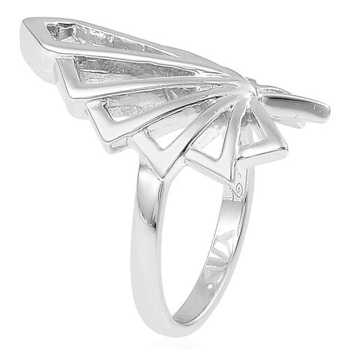 LucyQ Art Deco Ring in Rhodium Plated Sterling Silver 5.19 Gms