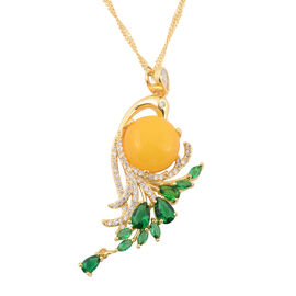 2 Piece Set - Yellow Quartzite (Rnd) Simulated Emerald and Diamond Pendant with Chain (Size 20 with