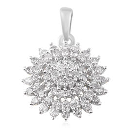 1 Carat Diamond Floral Cluster Pendant in 9K White Gold SGL Certified I3 GH