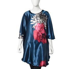 Designer Inspired - Peony Print Kaftan (Free size) - Dark Blue