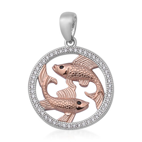 ELANZA Simulated Diamond Zodiac-Pisces Pendant in Plain and Rose Gold Overlay Sterling Silver