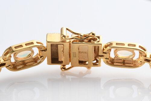 Ethiopian Welo Opal Enamelled Bracelet (Size 7.5) in 14K Gold Overlay Sterling Silver 4.00 Ct, Silver wt. 16.86 Gms