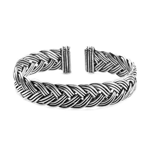 Braided Cuff Bangle in Sterling Silver 46.76 Grams 7.5 Inch