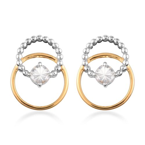 Natural Cambodian Zircon Earrings (with Push Back) in Yellow Gold and Platinum Overlay Sterling Silv