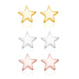 Set of 3 - Platinum, 14K Gold and Rose Gold Overlay Sterling Silver Star Earrings (with Push Back)