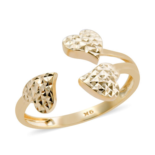 Royal Bali Collection Diamond Cut Ring in 9K Yellow Gold