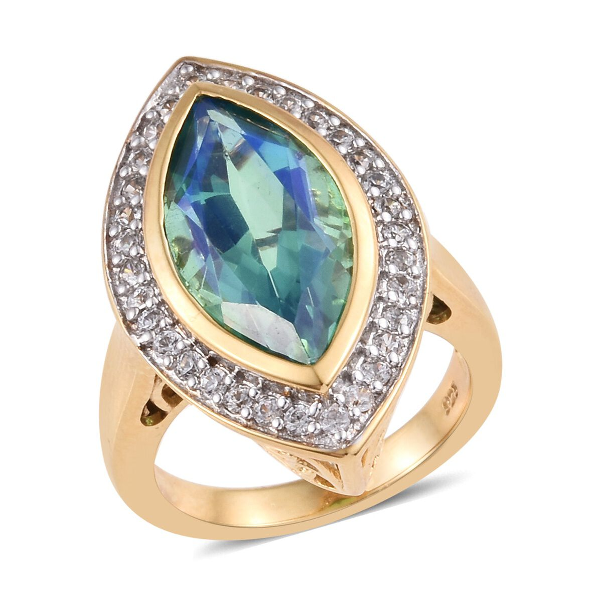Cambodian Zircon Solitaire Ring Silver 14ct Gold Plated Peacock Triplet Quartz