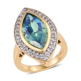 Peacock Quartz (Mrq), Natural Cambodian Zircon Ring in 14K Gold and Platinum Overlay Sterling Silver