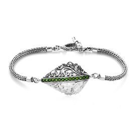 Bali Legacy 0.80 Ct Russian Diopside Tulang Naga Leaf Bracelet in Silver 13.75 Grams 7.5 Inch