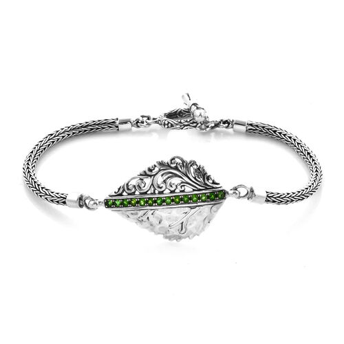 Bali Legacy 0.80 Ct Russian Diopside Tulang Naga Leaf Bracelet in Silver 13.75 Grams 7.5 Inch