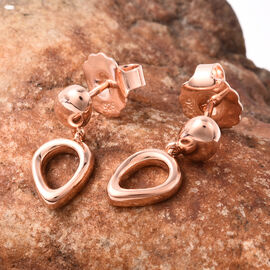 LucyQ Fluid Design Drop Earrings in Rose Gold Plated Sterling Silver