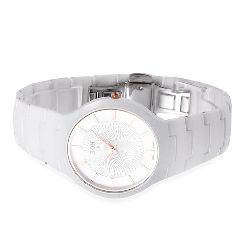 EON 1962 Swiss Movement 3ATM Water Resistant Watch with Diamond Cutting Glass and White Ceramic Strap
