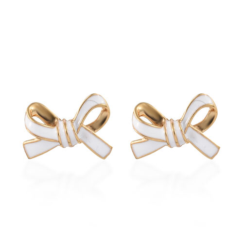 Designer Inspired-14K Gold Overlay Sterling Silver Bow Knot Earrings (with Push Back) with Enameling