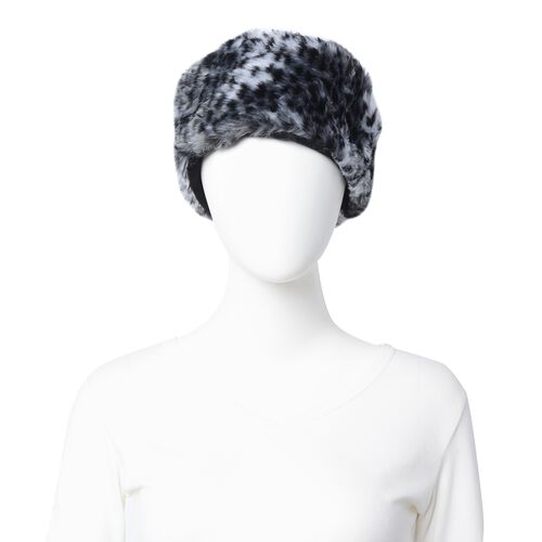 Black Colour Leopard Skin Pattern Faux Fur Scarf and Hat (Size 36.22x22.84x4.53 Cm)